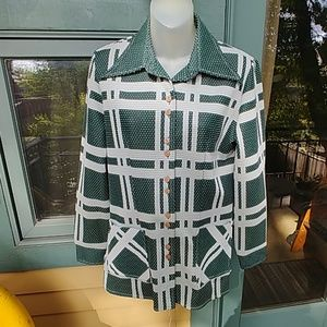 Vintage 70s Donkenny Green Polka Plaid Shirt Coat